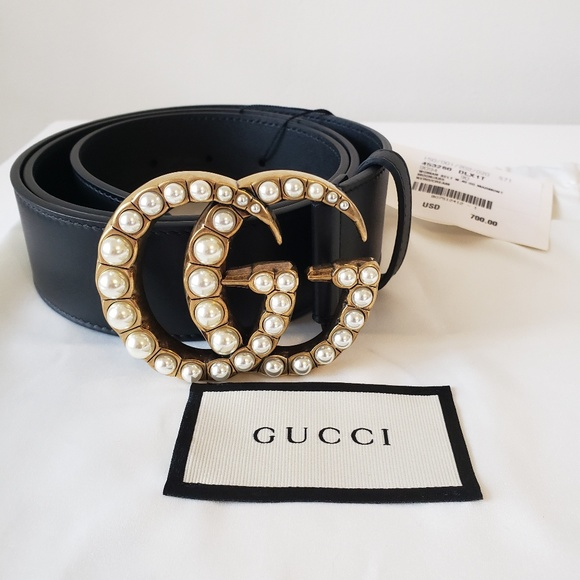6d716d8a0 Gucci Accessories | Pearl Gg Marmont Black Leather Belt 90 36 | Poshmark
